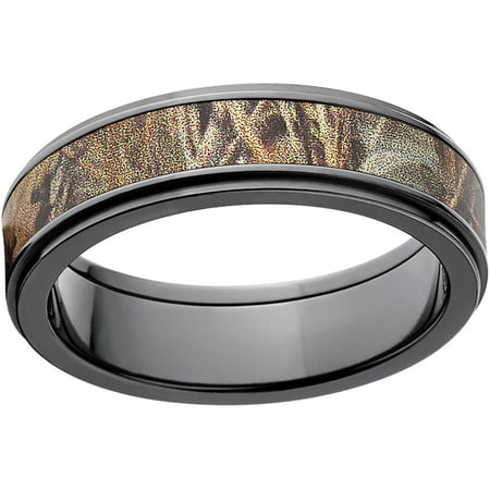 realtree max 4 mens camo 6mm black zirconium wedding band with polished edges and deluxe comfort