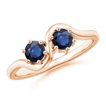 September Birthstone Ring - Round Two Stone Twist Blue Sapphire Ring in 14K Rose Gold (4.1mm Blue Sapphire) - SR1146S-RG-AA-4.1-7