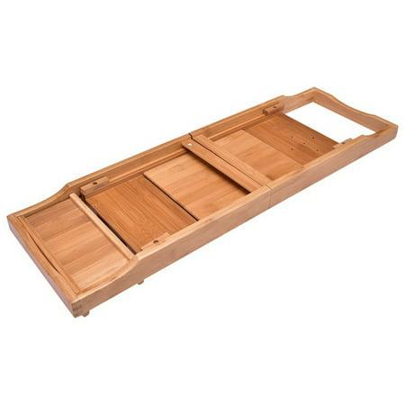 Adjustable Bamboo Bathtub Tray with Book Holder - Walmart.com
