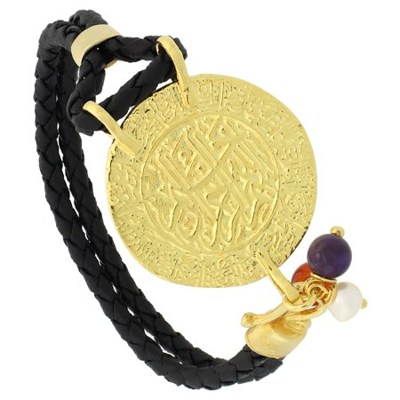 Sterling Silver Islamic Al Shahada Gold Plated Black Braided Leather Bracelet Tri Colored Beads  1 1 8 Inch Diameter  7 5 Inches Long
