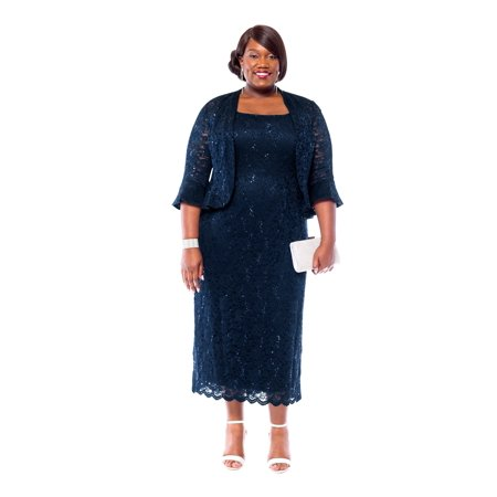a155fdf8af5 R M Richards - RM Richards Women s Plus Size Sequin Lace Midi Dress With  Jacket - Mother of The Bride Wedding Dresses - Walmart.com