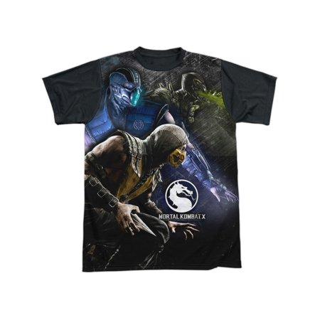 Mortal Kombat X Fighting Video Game Three Of A Kind Adult Black Back T-Shirt](Mortal Kombat X Halloween Tower)