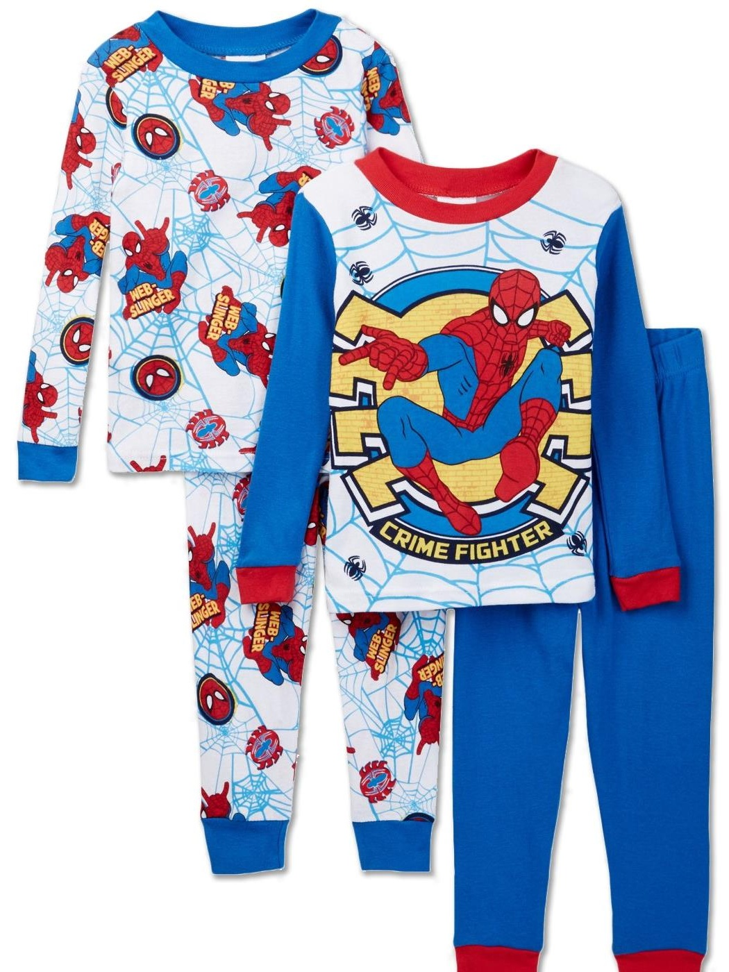 Marvel Spiderman 4 Piece Cotton Pajama Set, Toddler Sizes 2T-4T, Multicolor, Size: 3T Toddler