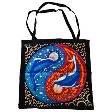 Women Tote Handbags Twin Dolphin Yin Yang Ocean And Sky Bright Colored Washable Cotton