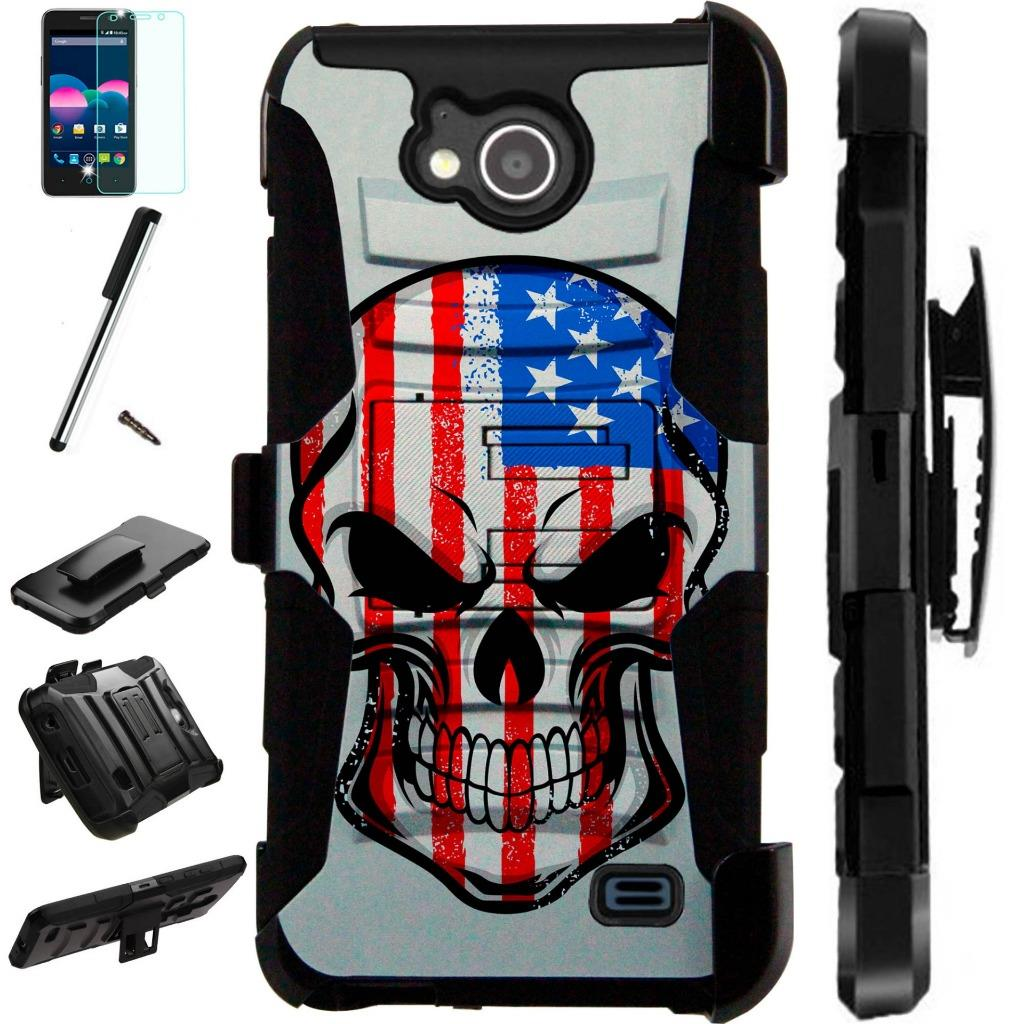 For ZTE Majesty Pro Plus LTE / ZTE Majesty Pro LTE / ZTE Tempo N9131 Case Armor Hybrid Silicone Cover Stand LuxGuard Holster Combo Pack (US Skull)