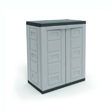 Gray Locking Storage Cabinet - Contico 2 Shelf Plastic Garage Home Storage Organizer Base Utility Cabinet, Gray