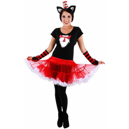 Cat In The Hat Tutu Women's Adult Halloween Costume (Cat In The Hat Tutu Costume)