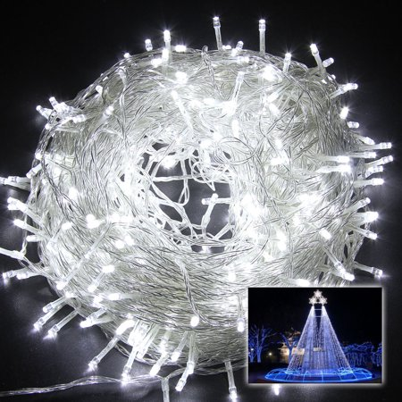 EXCELVAN 250 Leds 50M Cool White String Fairy Lights Lighting 8 Modes for Christmas Tree Party Wedding - Bubble Christmas Tree Lights