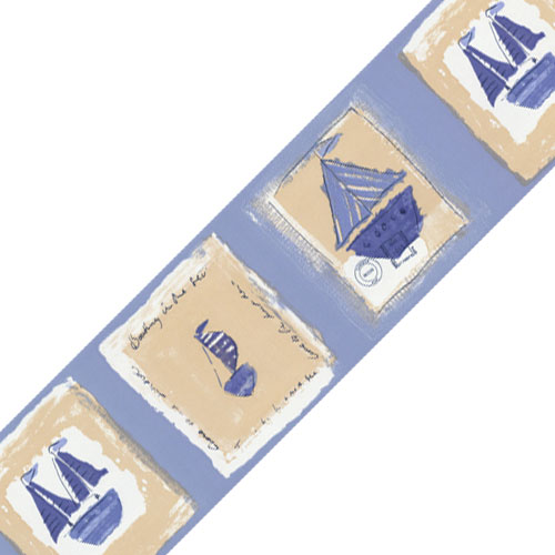 Light Blue Ahoy Matey Sailing Prepasted Wall Border Roll