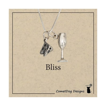 """STERLING SILVER 18"""" WEDGE OF CHEESE AND WINE GLASS PENDANT NECKLACE"""