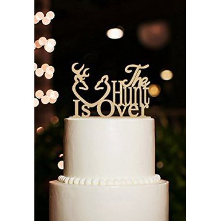 Buythrow The Hunt is Over Gold Color Antler Rustic Wedding Cake Topper (Wooden) Engagement, Anniverary, Bridal shower Cake Decoration Bridal Shower Cake Decorating