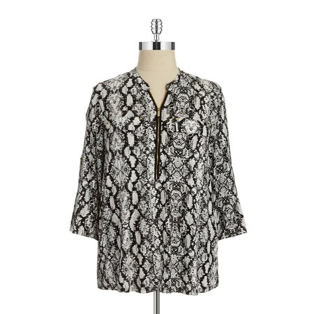 Plus Patterned Zip Accented Blouse