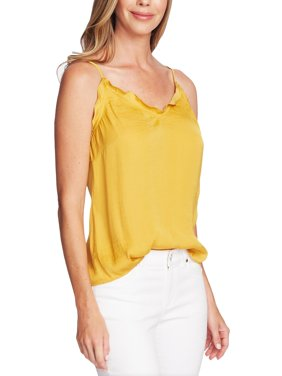 Vince Camuto Womens Satin Ruffled Camisole Top