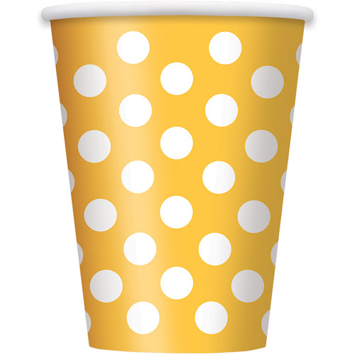 12oz Polka Dot Paper Cups, Yellow, 6ct