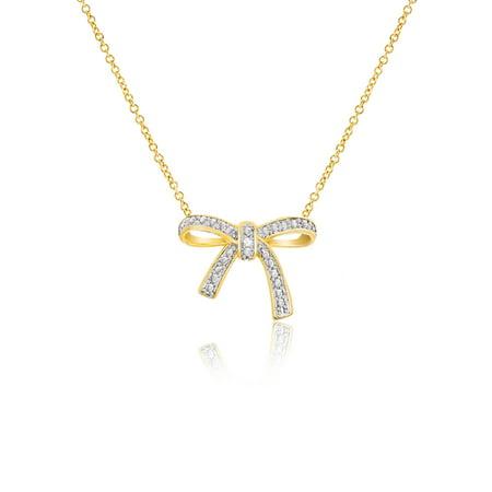 Diamond Accent Ribbon Design - Diamond Ribbon Cross Necklace