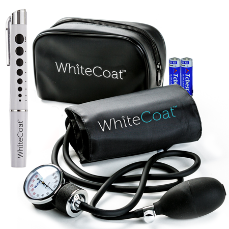 White Coat Deluxe Aneroid Sphygmomanometer - Professional Manual Blood Pressure Monitor with Sprague Rappaport Stethoscope and Accessory Kit, Adult Sized Cuff
