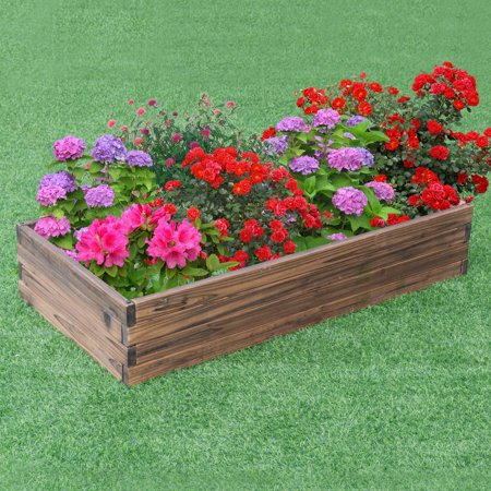 Gymax Wooden Raised Garden Bed Kit - Elevated Planter Box For Growing Herbs