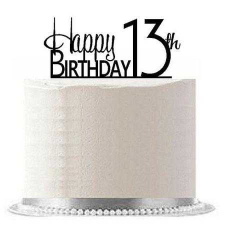 Item#AE-116 Happy 13th Birthday Agemilestone Elegant Cake Topper (Happy Birthday Cake)