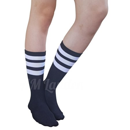 AM Landen Super Cute Great Quality Black with White Stripe Women's Mid-Calf Striped Crew - Black And White Striped Socks