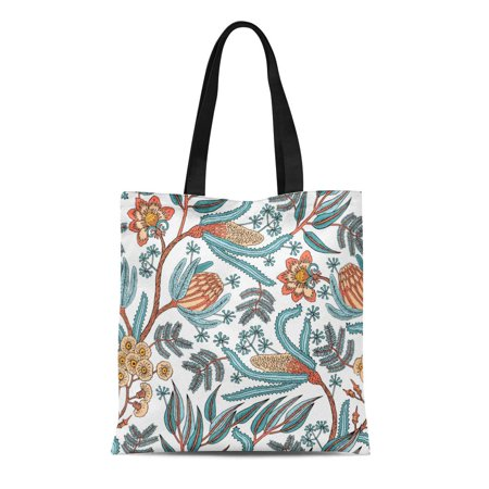 KDAGR Canvas Tote Bag Batik Fantasy Flowers Natural Floral Curl Paisley Block Bohemian Reusable Shoulder Grocery Shopping Bags Handbag