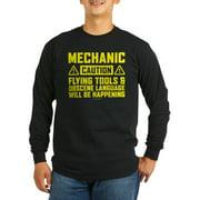 CafePress - Caution Mechanic Long Sleeve T-Shirt - Long Sleeve Dark T-Shirt
