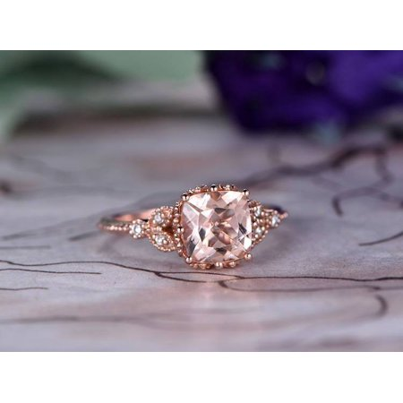Morganite White Ring - Antique 1.25 Carat cushion cut Morganite and Diamond Engagement Ring in 10k Rose Gold