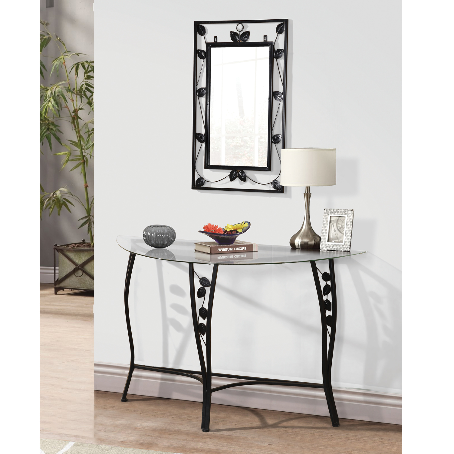 Home Source Florence Chrome Mirror And Console Table