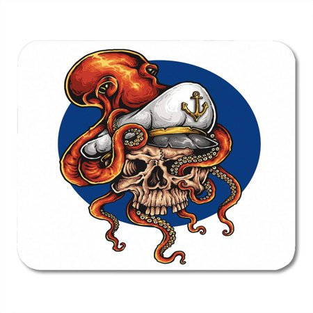 SIDONKU Blue Tattoo of Octopus Holding Captain Skull Tentacle Angry Fish Kraken Mousepad Mouse Pad Mouse Mat 9x10 inch - Tattoos Of Fish