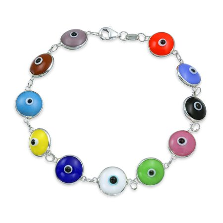 Turkish Eye Bracelet (Turkish Mutli Colors Evil Eye Glass Bead Bracelet For Women for Protection and Good Luck 925 Sterling)