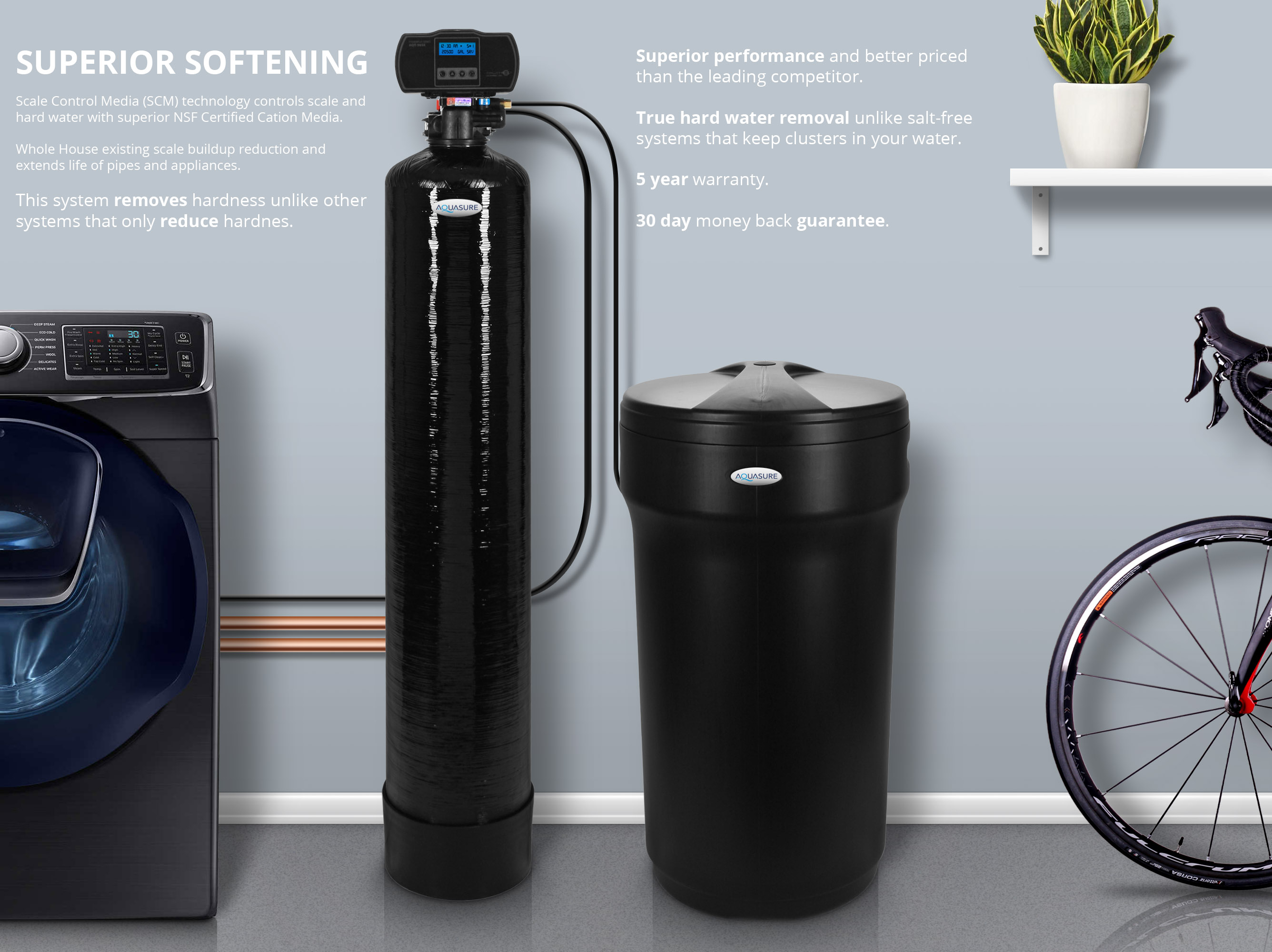 Aquasure Water Softener System Whole House Digital 2 4 Bathrooms