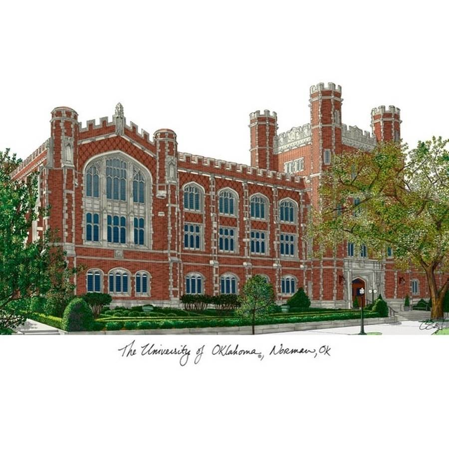 University of Oklahoma Campus Images Lithograph Print