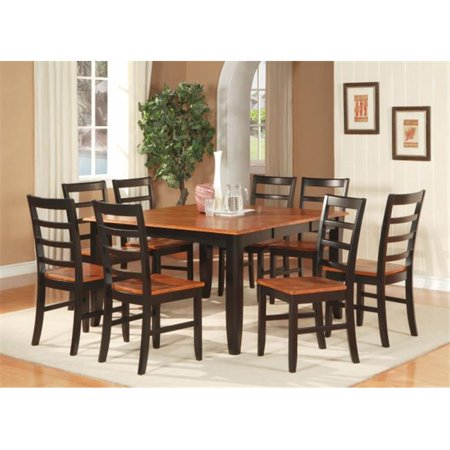 East West Furniture PARF5-BLK-W 5-Piece Parfait Square Table with 18 in. Butterfly Leaf & 4 Wood Seat Chairs in Black & Cherry Finish (18 Butterfly Leaf Cherry)