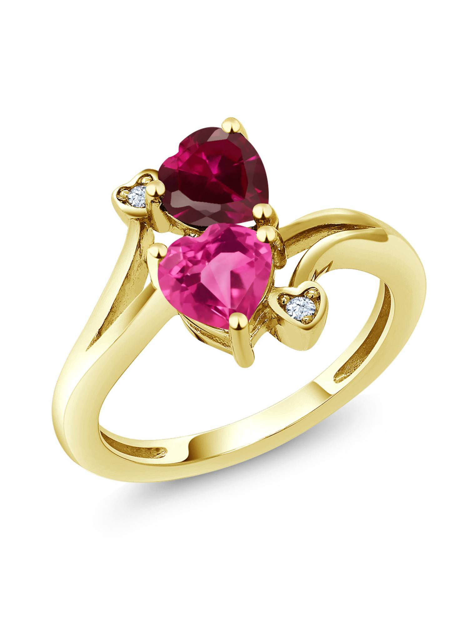 1.79 Ct Heart Shape Pink Created Sapphire Red Created Ruby 10K Yellow Gold Ring by