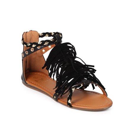 New Ladies Pretty Black Sandals - New Women Betani Monica-4 Mix Media Open Toe Braided Fringe Gladiator Sandal Sz