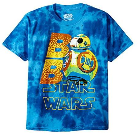 Star Wars Big Boys Neon Bb-8 with the Force Awakens Logo Tie-Dye T-Shirt, Blue, (Neon Bib)