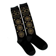 Black & Gold Sugar Skull Floral High Knee Socks