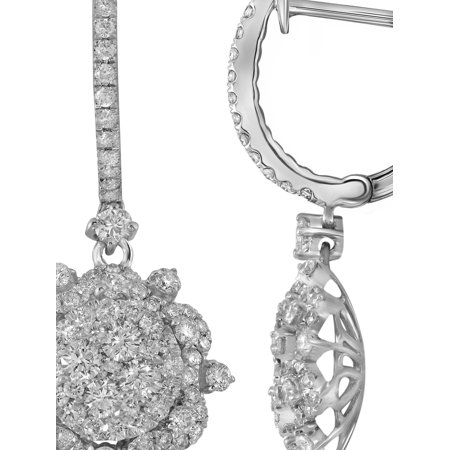 14k White Gold Snowflake Earrings With 2 27 Ct Diamonds