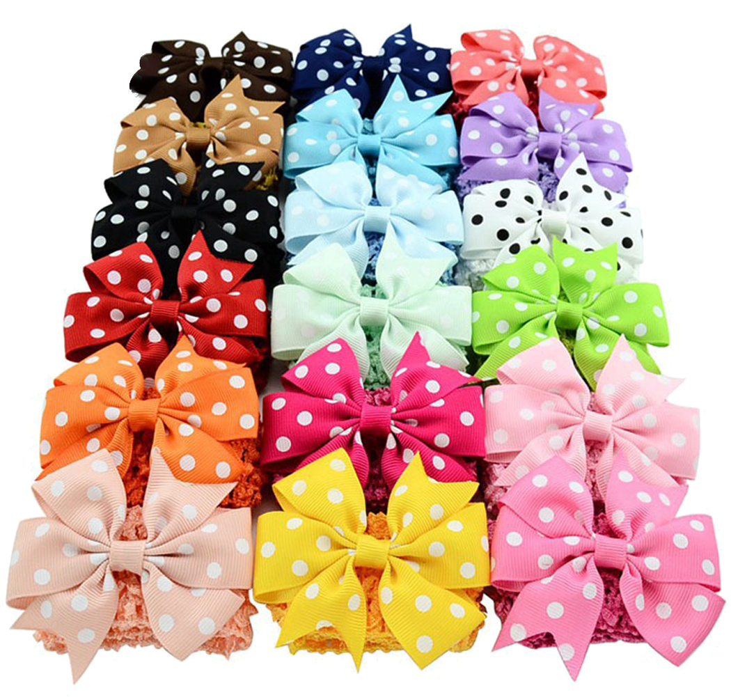 Two-way Hair Bow(3.1*1.7in/18Pcs), Coxeer Grosgrain Ribbon Clips Cute Fashion Hair Band Headbands for Baby Girls Teens Women Girls Kids