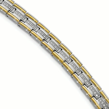Stainless Steel Polished Yellow IP CZ Link Bracelet 8.5in - image 2 of 2