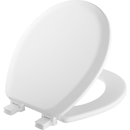 Mayfair Bemis 41EC-000 White Round Molded Wood Toilet Seat With Easy Clean & Change Hinge And STA-TITE® Bemis Toilet Seat Hinges