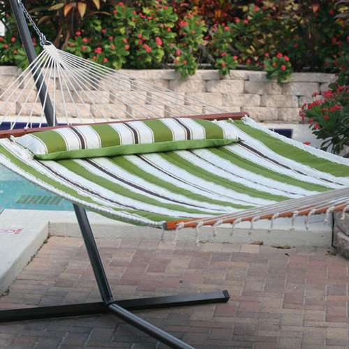 Smart Garden Santorini Premium Reversible Two Person Fabric Quilted Hammock