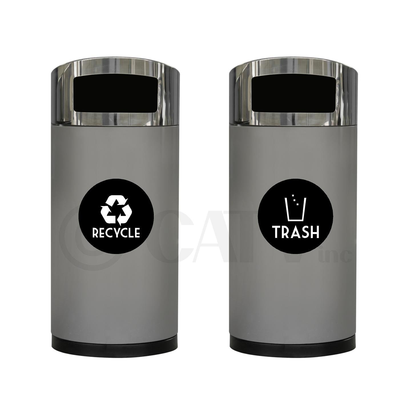 4 x 4, White Recycle and Trash Vinyl Lettering Decal Sticker