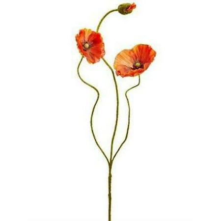 "4PK Orange Poppy Silk Flowers - 24.25"" Tall"