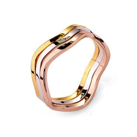 ON SALE - Wavy Tri-Color Stack Rings 5