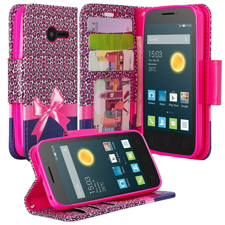 Alcatel Onetouch Pixi Pulsar Case  Wrist Strap Flip Fold  Kickstand Feature  Pu Leather Wallet Case With Id   Credit Card Slots For Pixi Plusar   Cheetah Prints