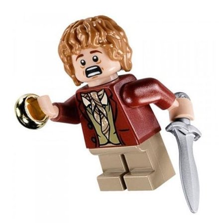 Lego Minifigure The Hobbit Bilbo Baggins With Ring Sword Red