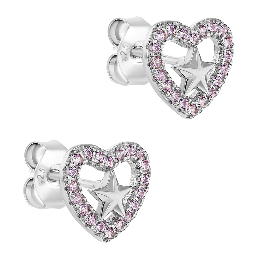 925 Sterling Silver Pink CZ Open Heart Star Stud Earrings for Girls or Teens - image 2 of 5