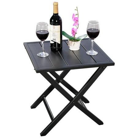 3pcs Steel Folding Square Table Chairs Set Bistro Garden Furniture - image 6 de 8