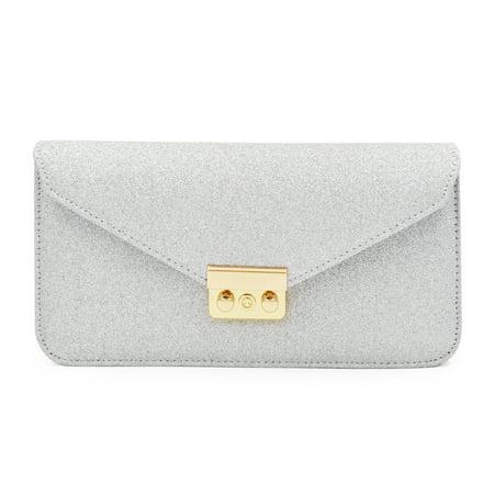 Premium Metallic Glitter Envelope Flap Clutch Evening Bag Handbag