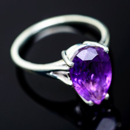 Faceted Amethyst Ring Size 8 (925 Sterling Silver)  - Handmade Boho Vintage Jewelry RING958675 ()